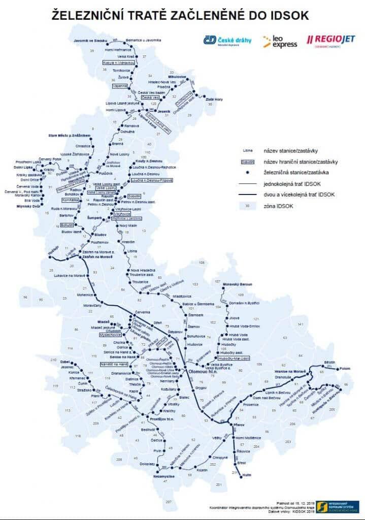 Železnice integrované do IDS Olomouckého kraje (IDSOK)