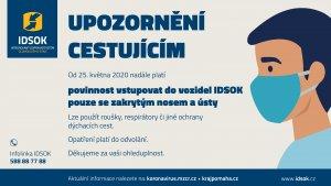 Povinnost vstupovat do vozidel IDSOK pouze se zakrytým nosem a ústy