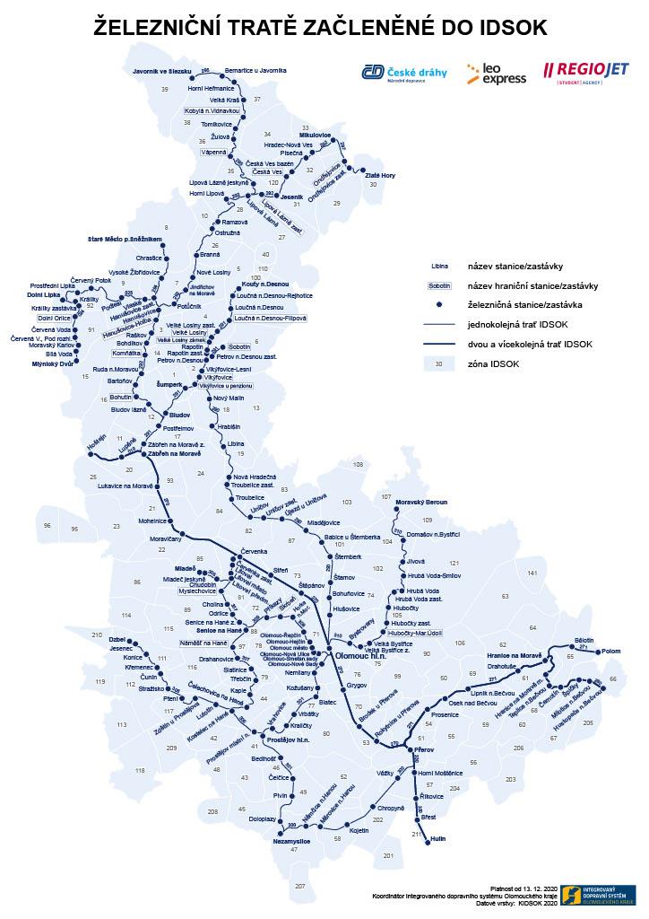 Mapa železničních tratí v IDSOK